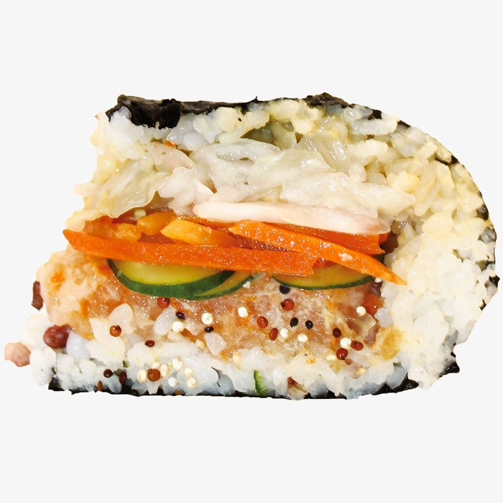 An original MIBAP rice sandwich, seen from the side