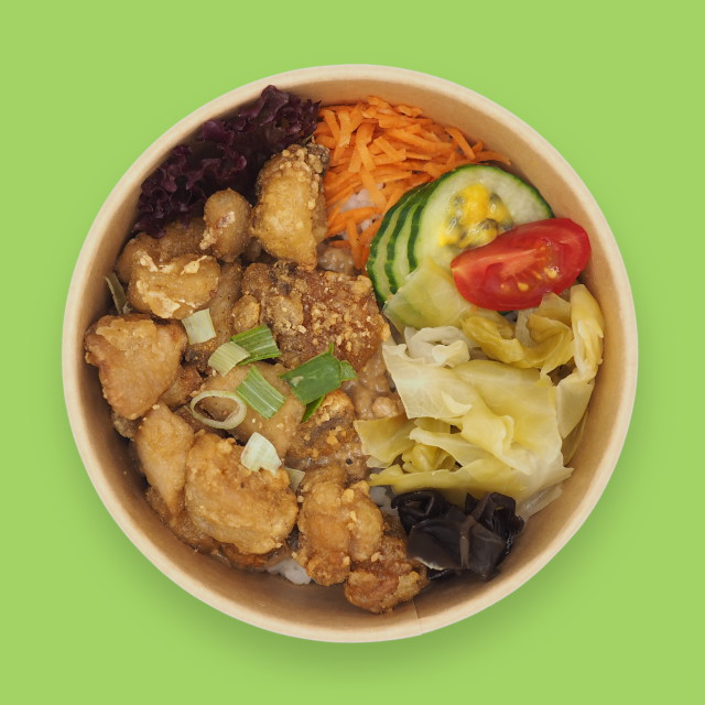 Reis-Bowl 'MI'Bowl with vegan No-Chicken Nugget'